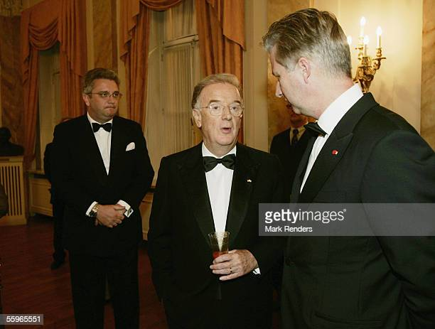 Portuguese President Jorge Sampaio talks with Prince Philippe of Belgium during a reception at the Cercle Gaulois in Brussels on October 19 2005 in...