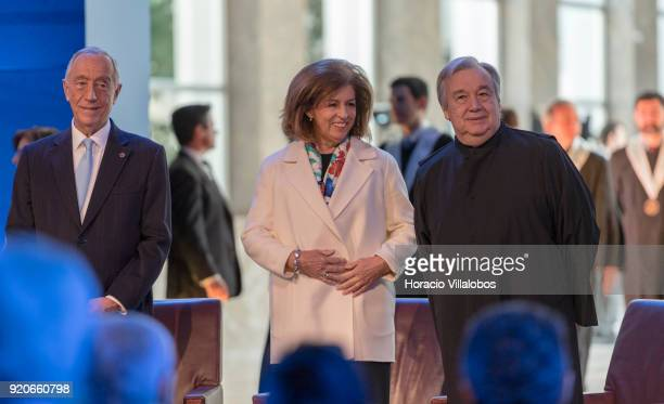Portuguese President Marcelo Rebel de Sousa and President of the Champalimaud Foundation Leonor Beleza accompany UN Secretary General Antonio...