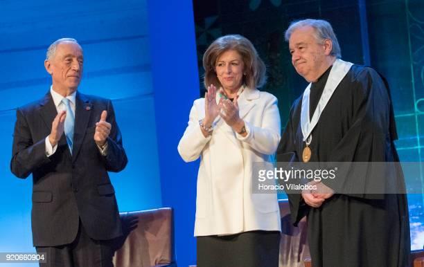 Portuguese President Marcelo Rebel de Sousa and President of the Champalimaud Foundation Leonor Beleza applaud UN Secretary General Antonio Guterres...