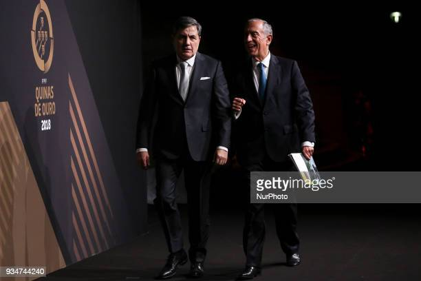 Portuguese President Marcelo Rebelo de Sousa accompanied by Portugal's football federation President Fernando Gomes pose at 'Quinas de Ouro' ceremony...