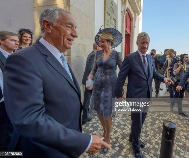 Portuguese President Marcelo rebelo de Sousa accompanies Queen Mathilde of Belgium and King Philipe of Belgium walk in the area of Miradouro Santa...