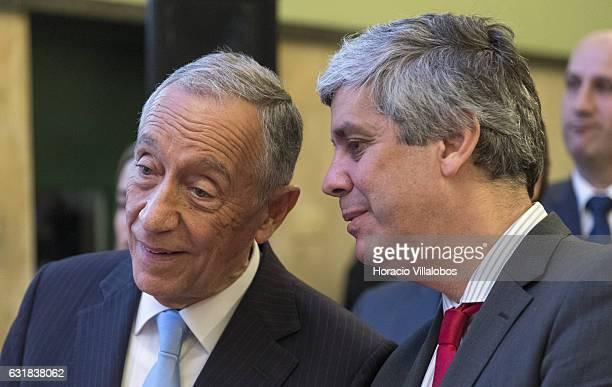 Portuguese President Marcelo Rebelo de Sousa and Minister of Finance Mario Centeno at the presentation of digital 'Museu Casa Da Moeda' on January...