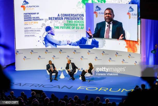 Portuguese President Marcelo Rebelo de Sousa and moderator Cristina Esteves listen to the President of the Republic of Mozambique, Filipe Nyusi ,...