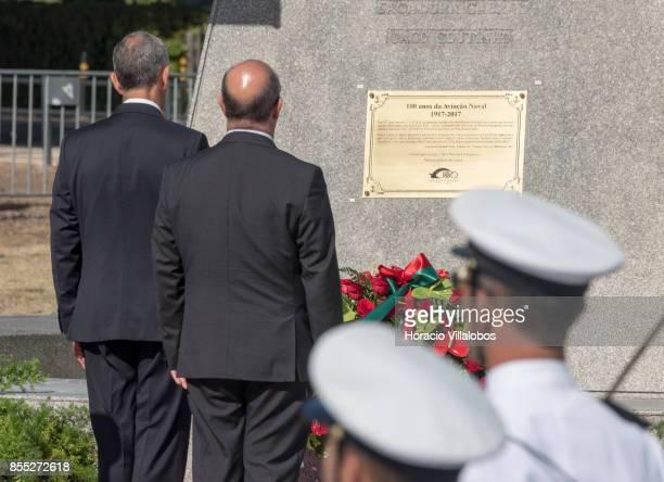 Portuguese President Marcelo Rebelo de Sousa and Portuguese Minister of National Defense Jose Alberto Azeredo Lopes , ) unveil a plaque during the...