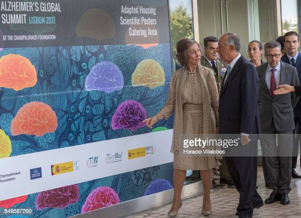 Portuguese President Marcelo Rebelo de Sousa and Queen Sofia of Spain arrive in Champalimaud Foundation to participate at the official opening...