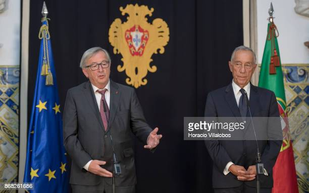 Portuguese President Marcelo Rebelo de Sousa and the President of the European Commission JeanClaude Juncker deliver statements in Belem Palace on...