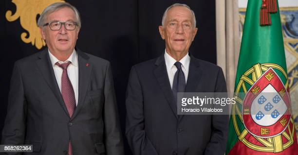 Portuguese President Marcelo Rebelo de Sousa and the President of the European Commission JeanClaude Juncker pose for pictures in Belem Palace on...