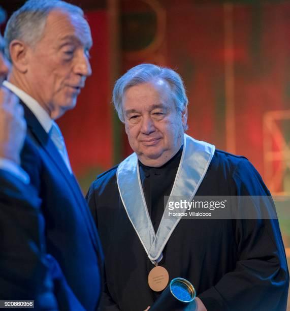 Portuguese President Marcelo Rebelo de Sousa and UN Secretary General Antonio Guterres after receiving from the Dean of Lisbon University Antonio da...