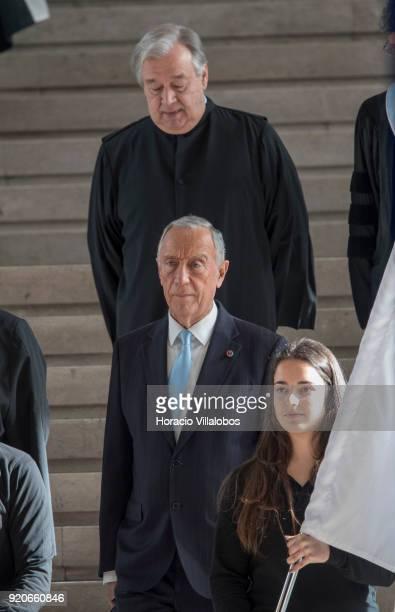 Portuguese President Marcelo Rebelo de Sousa arrives followed by UN Secretary General Antonio Guterres to begin the ceremony in which Guterres was...