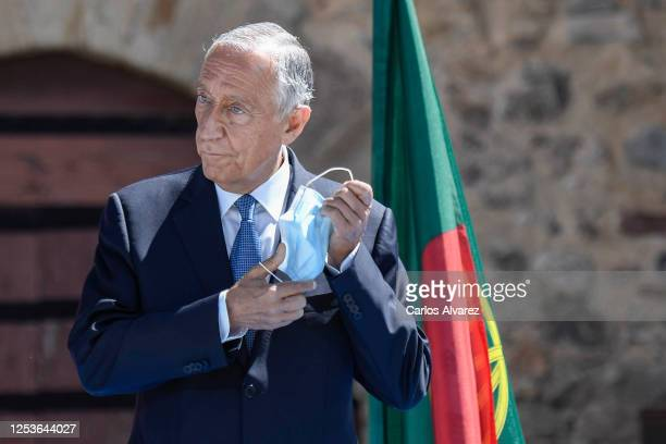 Portuguese President, Marcelo Rebelo de Sousa attends a ceremony to strengthen the relationships between Spain and Portugal at Elvas Castle on July...
