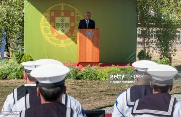 Portuguese President Marcelo Rebelo de Sousa delivers remarks during the commemoration of the 100th anniversary of Portuguese Naval Aviation on...
