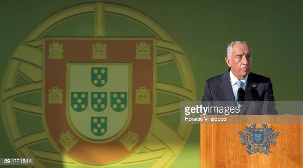 Portuguese President Marcelo Rebelo de Sousa delivers remarks during the ceremony in Praca do Comercio to commemorate Portuguese Navy 700th...