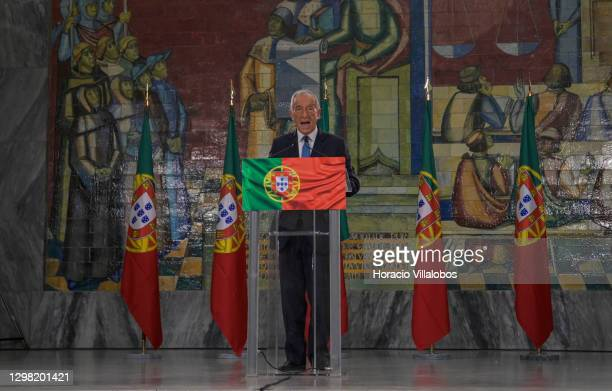 Portuguese President Marcelo Rebelo de Sousa delivers remarks on electoral evening in the University of Lisbon Law School after having won reelection...