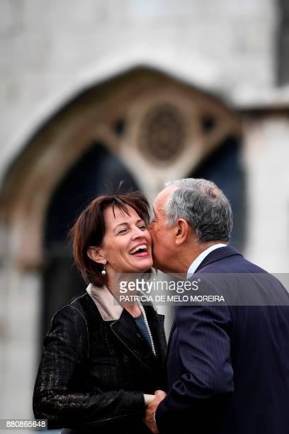 Portuguese President Marcelo Rebelo de Sousa greets Swiss Confederation President Doris Leuthard upon her arrival at the Jeronimos Monastery in...