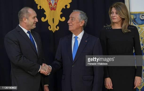 Portuguese President Marcelo Rebelo de Sousa greets the President of Bulgaria Rumen Radev and his wife Desislava Radeva at Belem Presidential Palace...
