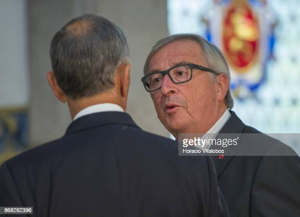 Portuguese President Marcelo Rebelo de Sousa greets the President of the European Commission JeanClaude Juncker at his arrival in Belem Palace on...