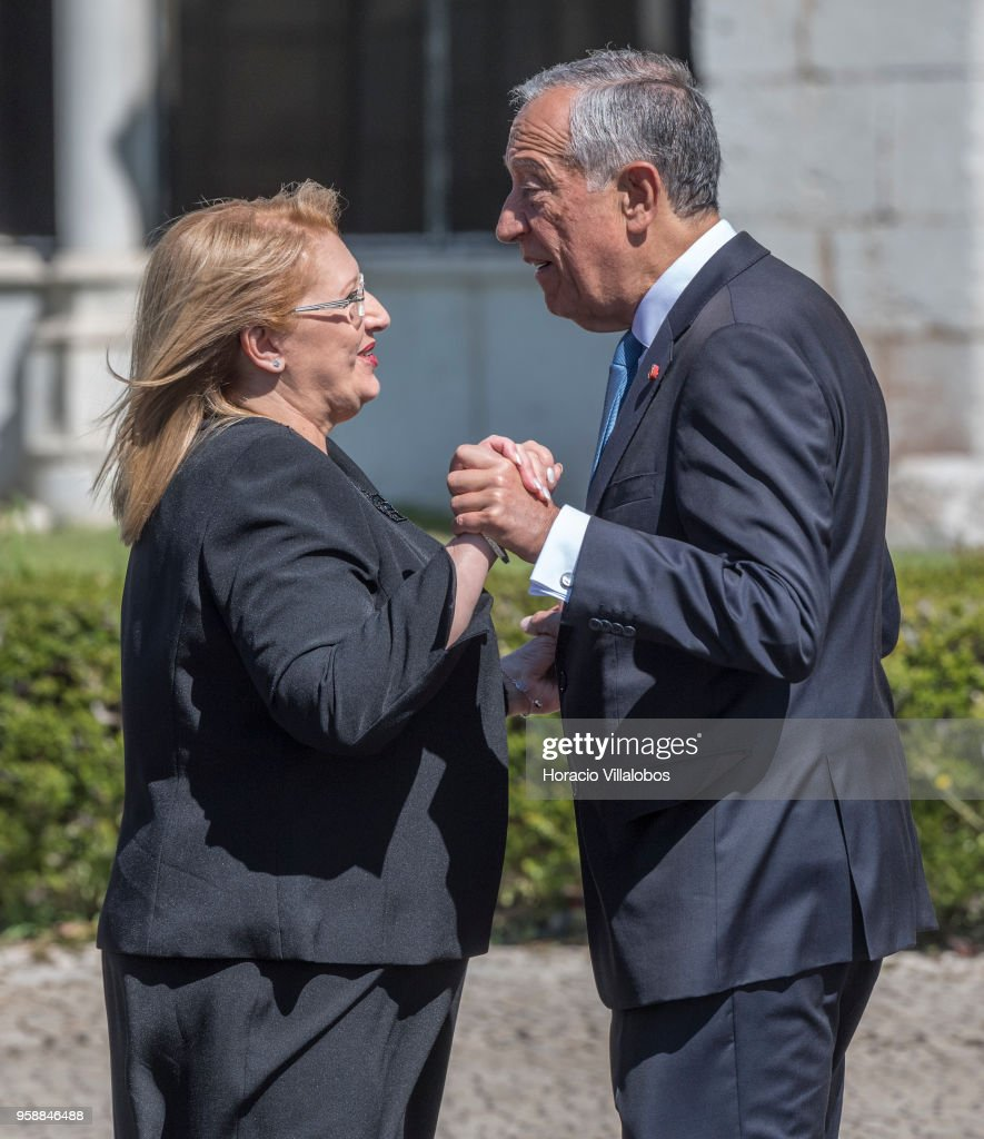 Portuguese President Marcelo Rebelo de Sousa (R) greets the President of Malta Marie-Louise Coleiro Preca (L) at the beginning of the welcome ceremony outside Jeronimos Monastery on May 15, 2018 in Lisbon, Portugal. President Marie-Louise Coleiro Preca is on a two-days state visit to Portugal.