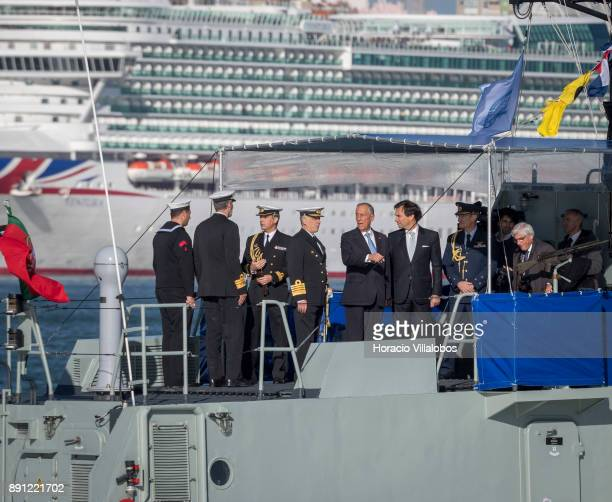 Portuguese President Marcelo Rebelo de Sousa is accompanied by Minister of Defense Jose Alberto Azeredo Lopes and Navy Chief of General Staff Admiral...