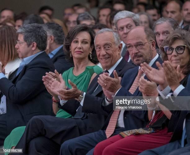 Portuguese President Marcelo Rebelo de Sousa is flanked by Ana Patricia Botin Executive Chairman of the Santander Group and Cascais Mayor Carlos...