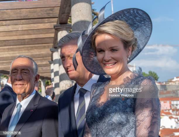 Portuguese President marcelo Rebelo de Sousa King Philippe of Belgium and and Queen Mathilde pose for pictures at Miradouro Santa Luzia in Alfama...