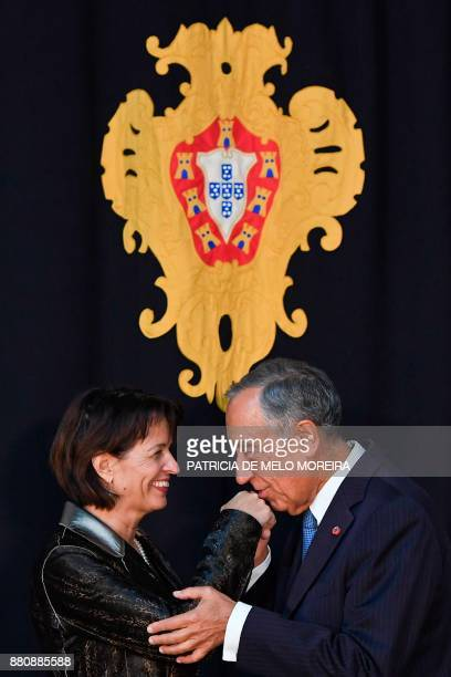 Portuguese President Marcelo Rebelo de Sousa poses with Swiss Confederation President Doris Leuthard ahead of their meeting at the Belem Palace in...