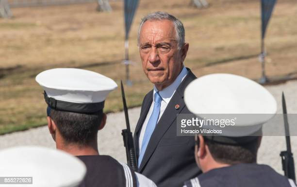 Portuguese President Marcelo Rebelo de Sousa reviews the Navy honor guard during the commemoration of the 100th anniversary of Portuguese Naval...