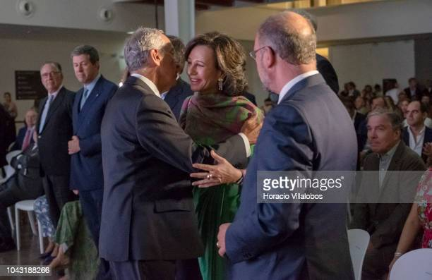 Portuguese President Marcelo Rebelo de Sousa salutes Ana Patricia Botin Executive Chairman of the Santander Group at the inauguration day ceremony in...