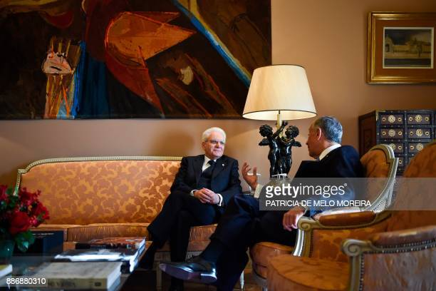Portuguese President Marcelo Rebelo de Sousa talks to his Italian counterpart Sergio Mattarella during their meeting at Belem palace in Lisbon on...