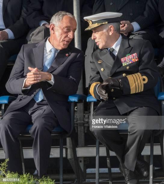 Portuguese President Marcelo Rebelo de Sousa talks to Portuguese Navy Chief of General Staff Admiral Antonio Manuel Fernandes da Silva Ribeiro during...