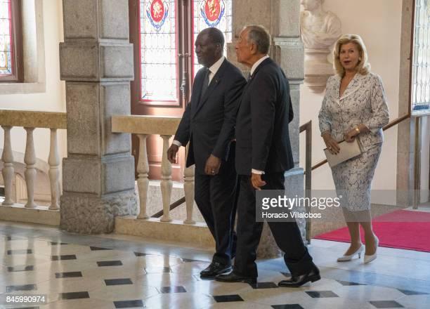 Portuguese President Marcelo Rebelo de Sousa the President of Ivory Coast Alassane Dramane Ouattara and his wife Dominique Ouattara at the visitors'...