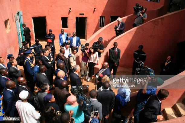 Portuguese President Marcelo Rebelo de Sousa visits the House of Slaves a museum and memorial to the Atlantic slave trade on Goree Island 3 km off...