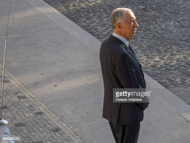 Portuguese President Marcelo Rebelo de Sousa waits for the arrival of the President of the European Commission JeanClaude Juncker at Belem Palace on...