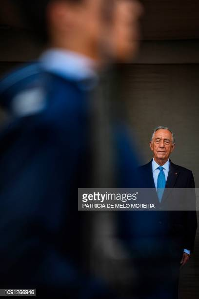 Portuguese President Marcelo Rebelo de Sousa watches a Portuguese Air Force military parade at the Jeronimos Monastery in Lisbon on January 30, 2019...