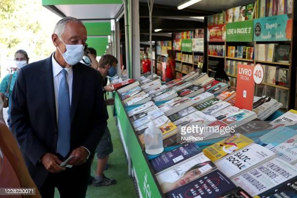 Portuguese President Marcelo Rebelo de Sousa wearing a facial mask visits the Lisbon Book Fair 2020 at the Parque Eduardo VII in Lisbon, Portugal on...