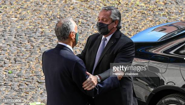 Portuguese President Marcelo Rebelo de Sousa welcomes Argentina's President Alberto Fernández in Belem Presidential Palace on the first official...