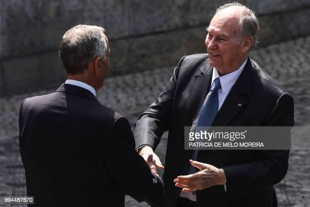 Portuguese President Marcelo Rebelo de Sousa welcomes Prince Karim Aga Khan IV at Belem Palace in Lisbon on July 9 2018 The Aga Khan attends...