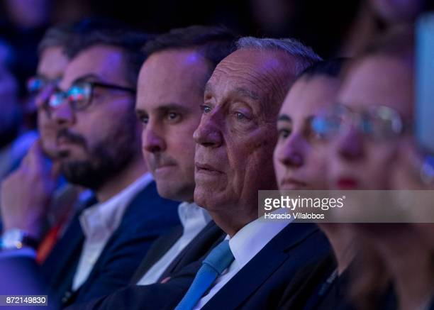 Portuguese President Marcelo Rebelo de Susa listens to former USA Vice President Al Gore Chairman Generation Investment Management talking about The...