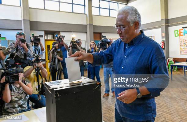 Portuguese Prime Minister and Secretary general of Socialist Party Antonio Costa casts his ballot for the Portuguese Parliament election in voting...