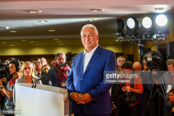 Portuguese Prime Minister and Secretary general of Socialist Party Antonio Costa listens to question at the end of his speech to followers and...