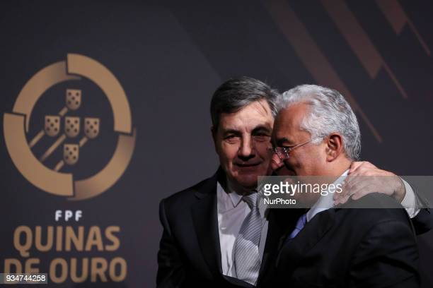 Portuguese Prime Minister Antonio Costa accompanied by Portugal's football federation President Fernando Gomes pose at 'Quinas de Ouro' ceremony held...
