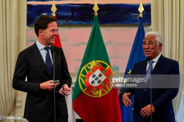 Portuguese Prime Minister Antonio Costa and Dutch Prime Minister Mark Rutte adress the media at Sao Bento Palace in Lisbon on April 3 2019