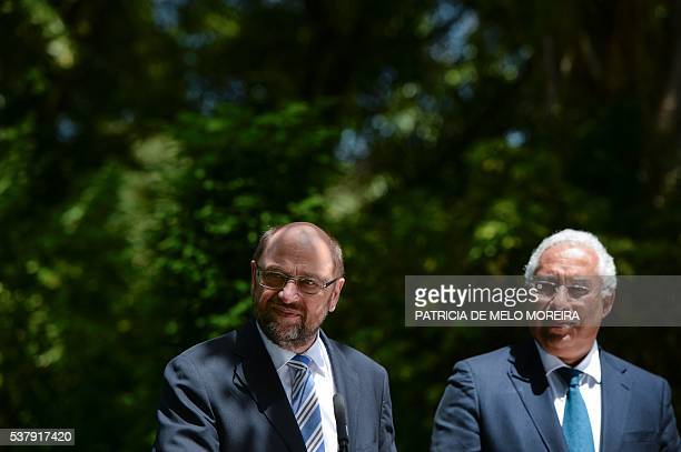 Portuguese Prime Minister Antonio Costa and European Union President Martin Schulz give a press conference moments after their meeting at Sao Bento...