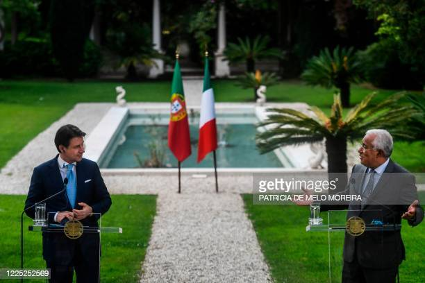 Portuguese Prime Minister Antonio Costa and his Italian counterpart Giuseppe Conte hold a press conference at the Sao Bento Palace in Lisbon on July...