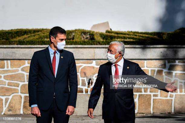 Portuguese Prime Minister Antonio Costa and his Spanish counterpart Pedro Sanchez arrive for the 31st Portuguese-Spanish summit this year dedicated...