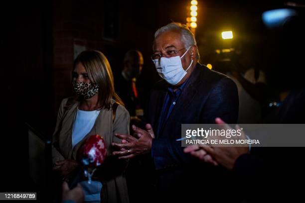 "Portuguese Prime Minister Antonio Costa and his wife Fernanda Tadeu arrive to attend the performing show ""Deixem o Pimba em Paz"" by Portuguese..."