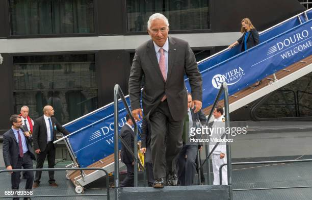 Portuguese Prime Minister Antonio Costa and Spanish Prime Minister Mariano Rajoy leave the 'Douro Elegance' a river cruise vessel in which they held...