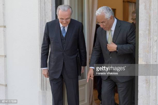 Portuguese Prime Minister Antonio Costa and the president of Banking Foundation 'La Caixa' Isidro Faine meet the press at the end of their encounter...