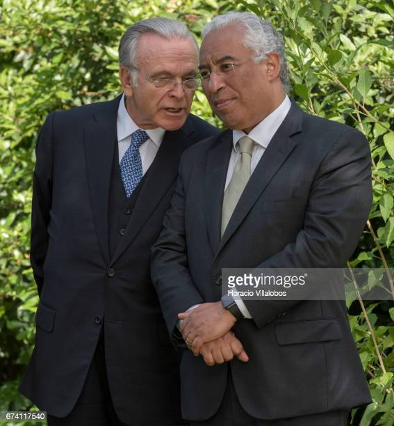 Portuguese Prime Minister Antonio Costa and the president of Banking Foundation 'La Caixa' Isidro Faine during their meeting with the press at the PM...