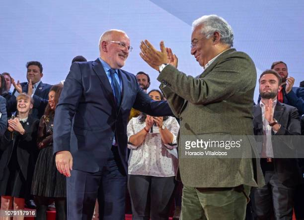 Portuguese Prime Minister Antonio Costa applauds Frans Timmerman PES Common Candidate Designate to preside European Commission at the end of his...