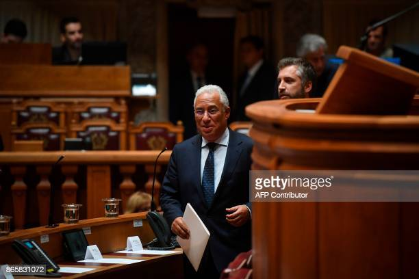 Portuguese Prime Minister Antonio Costa arrives for the debate of a censure motion tabled by the conservative CDSPP party at the Portuguese...